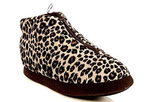 ... Kvinners Anti-slip Dorm Ultra Plysj Zippe Ankelen Myk Fleece Frotté  Huset Tøfler Zip Leopard