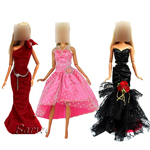 Barwa 3 Sets Princess Evening Party Clothes Wears Wedding GOWN Dress Outfit For Barbie Doll Gift AS PICUTRE by Barwa