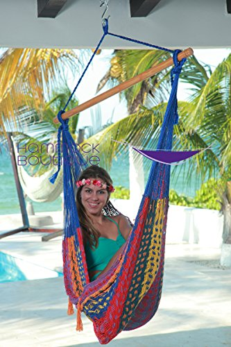 Savannah CHAIR Thick Cord LARGE Mayan style Hammock Multicolor COTTON