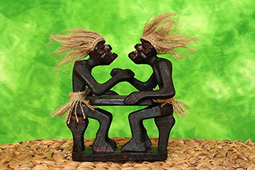 G6 COLLECTION Handmade Primitive Tribal Statue Two Men Arm Wrestling Tiki Bar Wooden Handcrafted Gift Home Decor -