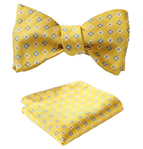 HISDERN Men's Check Jacquard Woven Wedding Party Self Bow Tie Set Yellow/Blue