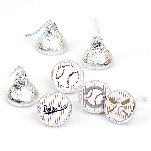 Batter Up - Baseball - Baby Shower or Birthday Party Round Candy Sticker Favors - Labels Fit Hershey's Kisses (1 sheet of 108) ()
