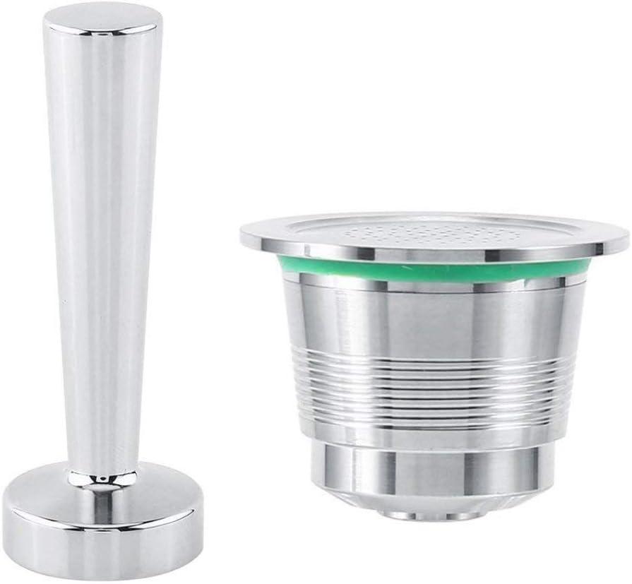 Kit prensador de café para Nespresso Máquina de café de acero inoxidable + cápsula recargable de máquina café Nespresso en acero inoxidable + cuchara de medición