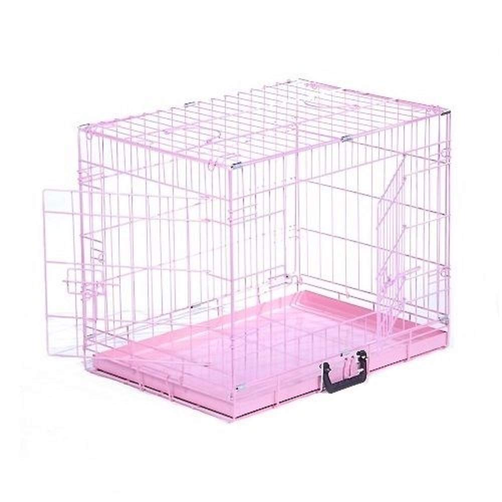 WDE Dog Cage Puppy Crate Floding Metal with Tray for Training House Pink, 75L x 47W x 54H cm