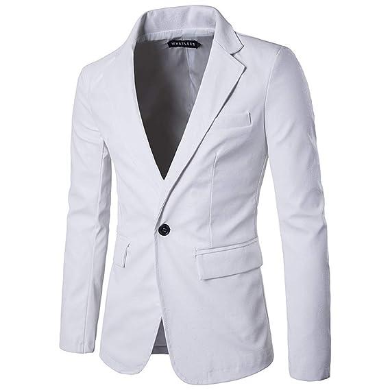 Cinnamou_hombre Chaquetas de Traje y Americanas de Cuero Blusa Abrigos de un Solo botón de un Solo Color Oficial Uniforme de Masculino: Amazon.es: Ropa y ...