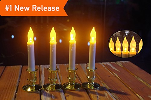 Block Green Apple Fragrance (LED Flameless Taper Candles Battery Operated With Timer,Candlesticks/Holders Pillar White Wax Dripped Outdoor Tapers Candle Bulk For Thanksgiving&Christmas-Set Of 4)