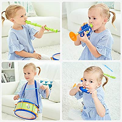 iPlay, iLearn Toddler Musical Instruments Toys, Kids Drum Set, Percussion, Tambourine, Trumpet, Maraca, Harmonica, Flute, Learning Gift for 18 Month 2 3 4 5 Year Olds Baby Boys Girls Children (Blue): Toys & Games