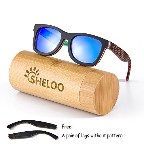 SHELOO Skateboard Wood Polarized Lens Sunglasses Hand-made A Pair Of Legs For - Glasses Skateboard