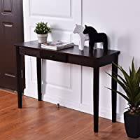 Dark Brown Walnut Wood Finish Sofa Table Entryway Console Table Display With Storage Drawer Furniture