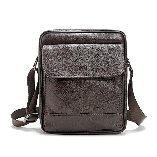 Bolso de cuero, bolso de mano bolsa de Hombres, oblicuo, maletín marrón