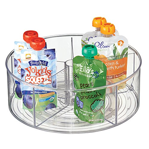 Plastic Lazy Susan - mDesign Divided Lazy Susan Turntable Storage Container for Kitchen Cabinets, Pantries, Refrigerator, Countertops - BPA Free & Food Safe – Spinning Organizer for Kids, Baby/Toddler, 5 Sections - Clear