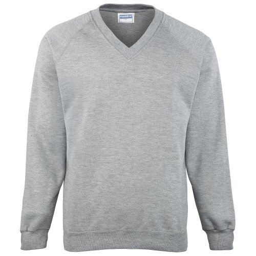 Maddins Mens Colorsure V-Neck Sweatshirt (XL) (Oxford Grey)