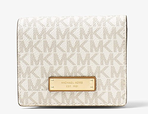 Michael Kors Jet Set Travel Logo Card Holder - Vanilla - - Michaels Kors Stock