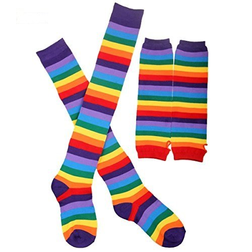 Hencu 2 Pairs Colorful Rainbow Stripe Long Knit Gloves Socks Set Party ()