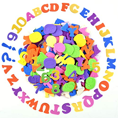 Coopay Self-Adhesive Foam Letter Alphabet Number Stickers Assorted Colors for Kid's Arts Craft -
