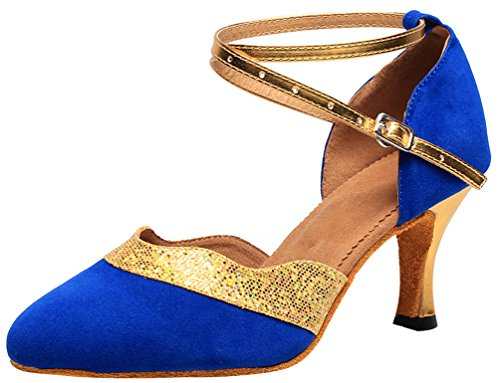 CFP 7119 Womens Practice Latin Professional Dance Shoes 2 In Closed Toe Cloth Ankle Strap Blue Dd7ttObx