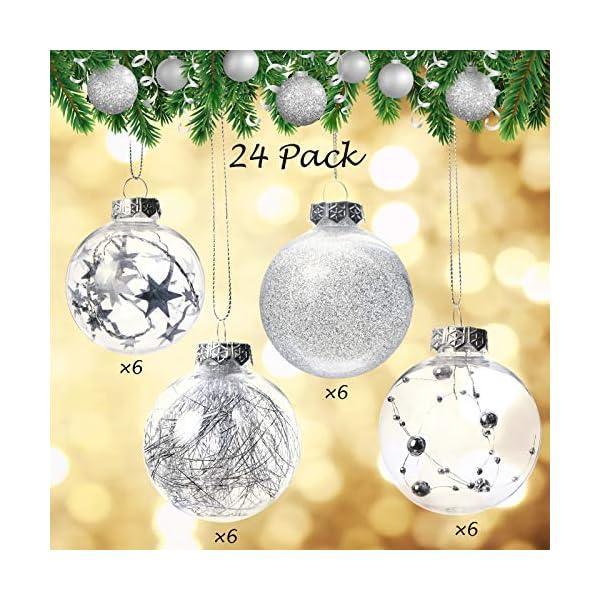 Joyjoz Decorazioni Albero di Natale Palline di Plastica, 6 cm di Diametro Palla di Natale Lucido riempita con Decorazioni Natalizi Raffinati Set 24 Pezzi 3 spesavip