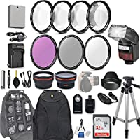 58mm 28 Pc Accessory Kit for Canon EOS Rebel T3i, T5i, 300D, 700D DSLRs with 0.43x Wide Angle Lens, 2.2x Telephoto Lens, LED-Flash, 32GB SD, Filter & Macro Kits, Backpack Case, and More