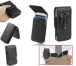 DFV mobile - Leather flip belt clip case holster vertical > m-horse s51, color negro