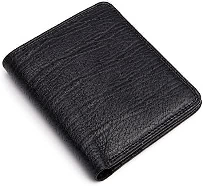MONHINTY Men's Business Genuine Leather Slim Bifold Wallets