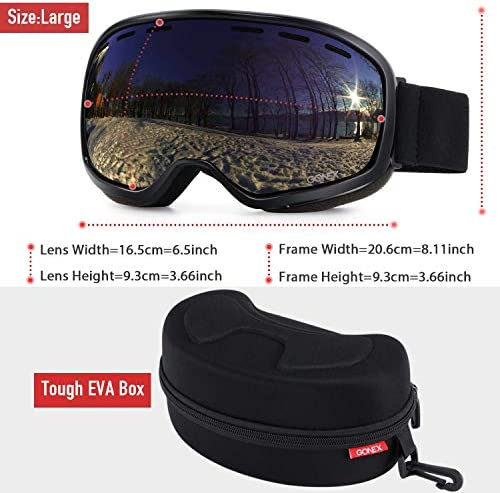 Gonex Ski Goggles, Anti Fog 100 UV Protection Snow Snowboard Goggles for Youth Adults with Goggle Case Large Size