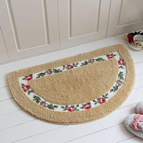 ELEOPTION Kitchen Rugs Mat Non Skid Half Round Decorative Design Comfortable Doormat Entrance Rug for Kitchen Bedroom Toilet Floor Rug Mat Indoor Mat Standing Mat Non Slip Mat Gold