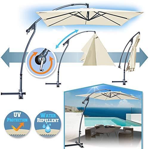 Banana Offset Umbrella (BenefitUSA 8'x8' Cantilever Banana Umbrella Patio Offset Parasol Garden Outdoor Sunshade Hanging Market-360'C Rotational Function (Ecru))