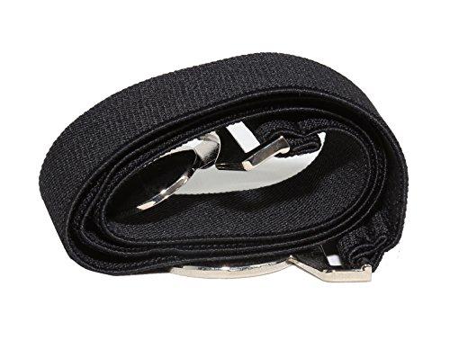 "Modeway Women's 1.5"" Wide Silver Round Buckle Elastic Stretch Cinch Waist Belts( XL-XXL,Black)"