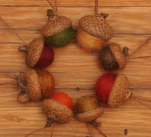 Wool Felted Acorns OR Acorn Ornaments in Fall Colors, Set of 8 (Wool Gorgeous)
