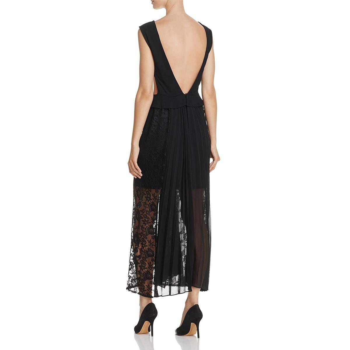fdd8882f06e French Connection Womens Angelina Plunging Neck Pleated Midi Dress Black 0:  Amazon.co.uk: Clothing