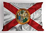 Ambesonne American Pillow Sham, Florida Flag Land of Sunshine Flowers Palms Rivers and Lakes Steamboat, Decorative Standard Queen Size Printed Pillowcase, 30 X 20 Inches, Red White Multicolor