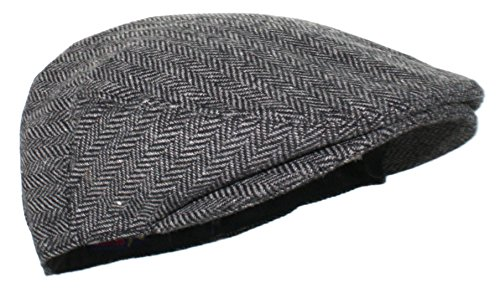 Ted and Jack - Street Easy Herringbone Driving Cap With Quilted Lining in Black and Gray Size Small/Medium
