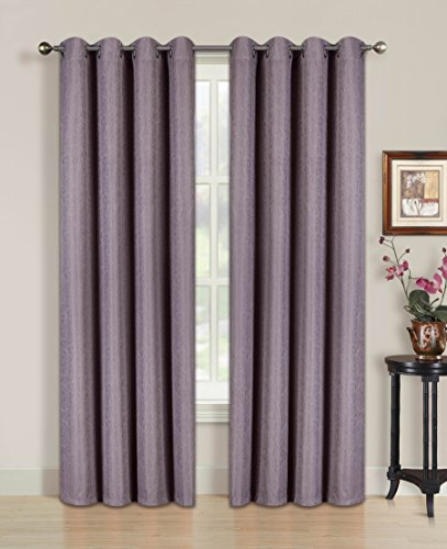 All American Collection New 2 Panel Solid Jaquard Blackout Curtain Set (84″ Length, Purple)