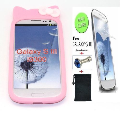 NorthLogic (BABY PINK) Flexible Soft Rubberized Silicone Kitty Ear With Pink Bow Ribbon Back Cover Case for SAMSUNG GALAXY S3 (SAMSUNG GALAXY SIII), -- BONUS: ANTI-GLARE / ANTI-FINGERPRINT SCREEN PROTECTOR + DIAMOND EARPHONE DUST PLUG + ANTI-DUST BAG POUCH -- (Hello Kitty Phone Case For Galaxy S3)