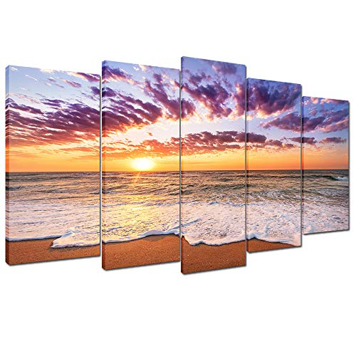 Wallfeeling Arts Beach Sunset Canvas Print for Living Room Decoration Stretched 5 Panels Painting Wall Art Picture Print on Pink Brown Canvas- High Definition Modern Home Decor ()
