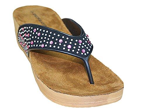 Dunlop Damen-Flip-Flops, flacher Absatz, Zehensteg, mit Kristallsteinchen verziert, Größe 35,5 bis 42 Black/Pink Gems