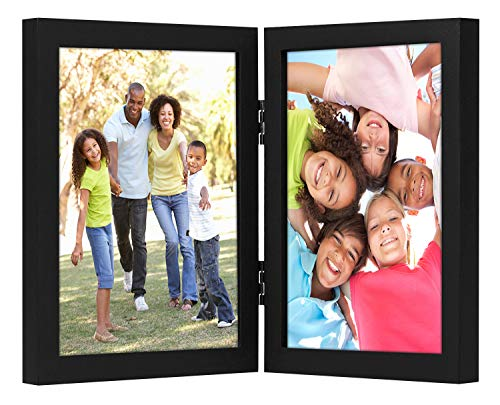 Americanflat 8x10 Hinged Picture Frame with Glass Front - Display 2 8x10 Pictures - Stand Vertically on Desktop or Tabletop (2 8x10 Picture Frame)