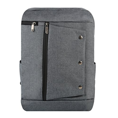 ZKOO Mujer Hombre Lona Escolar Mochilas Negocios Portátiles Mochila Backpack Mochila de Viaje Bolsa De Hombro Gris