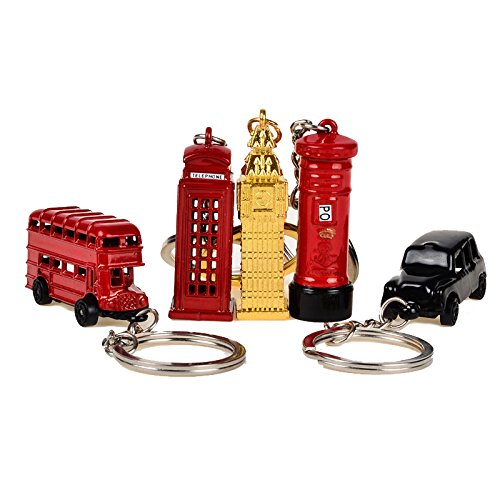 BOHS 5pcs/Set, London Souvenir Gift Red Telephone Booth Bus Mail Box Taxi Big Ben Miniature Model Small Keychain