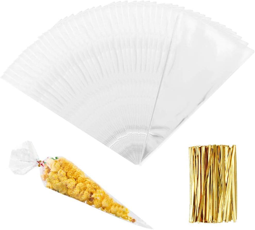Cône Sweet Candy Sacs Plastique Cellophane Papier Pour Mariage Fête Décoration