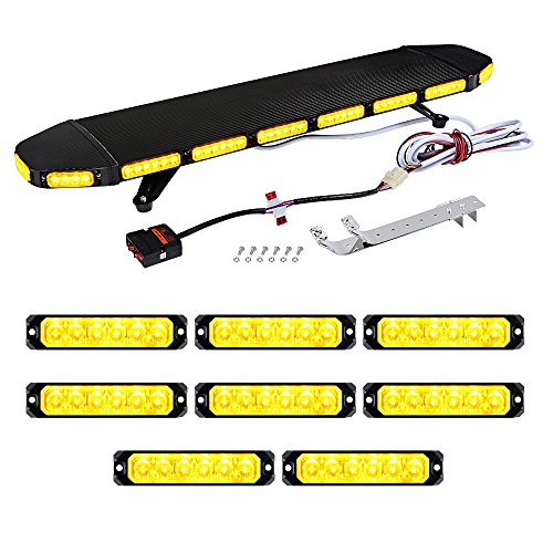Set 1pc AMBER 41 inch 96-LED Emergency Warning Beacon Tow Truck Plow Response 360-degree Strobe Light Bar + 8pcs Caution SYNC Flashing Strobe Light Bar 6-LED 30W
