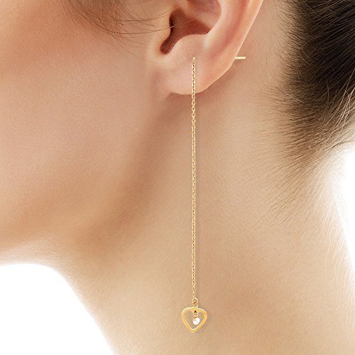 Popular Jewelry Trends. 14K Gold CZ String Heart Earrings #jewelrytrends