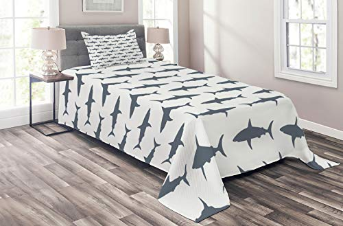 Ambesonne Sea Animals Coverlet Set Twin Size, Sharks Swimming Horizontal Silhouettes Powerful Dangerous Wild Life, 2 Piece Decorative Quilted Bedspread Set with 1 Pillow Sham, Charcoal Grey White
