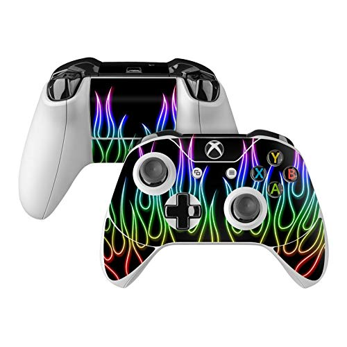 Rainbow Neon Flames Skin Decal Compatible with Microsoft Xbox One and One S Controller - Full Cover Wrap for Extra Grip and Protection from DecalGirl