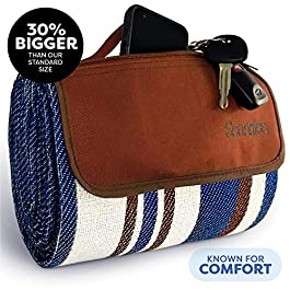 Extra Large Picnic & Outdoor Blanket Zipper Dual Layers for Outdoor Water-Resistant Handy Mat Tote Spring Summer Blue…