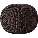 Urban Shop Round Knit Pouf - Hand Woven Cotton, Brown