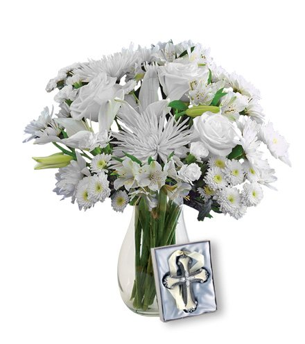 Eternal Blessings Sympathy Bouquet with White Roses, White Cushion Pompons, White Lilies, Cross Ornament in Clear Vase (Fresh Cut Flowers) (Carnation Bouquet Miniature)