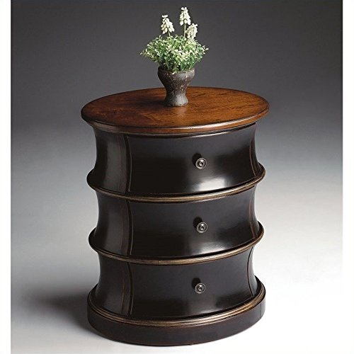 (Three Drawer Drum Accent Table w Cherry Veneer Oval Top by Butler Specialties)