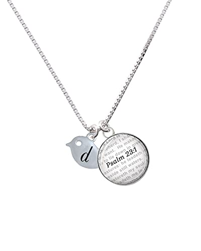 Little Bird Initial D Bible Verse Psalm 231 Glass Dome Necklace