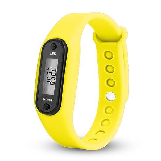 QinMM relojes Podómetro deportivos, Pulsera Actividad Pulsera Inteligente Impermeable cálculo LCD para mujer y hombre (Amarillo): Amazon.es: Relojes